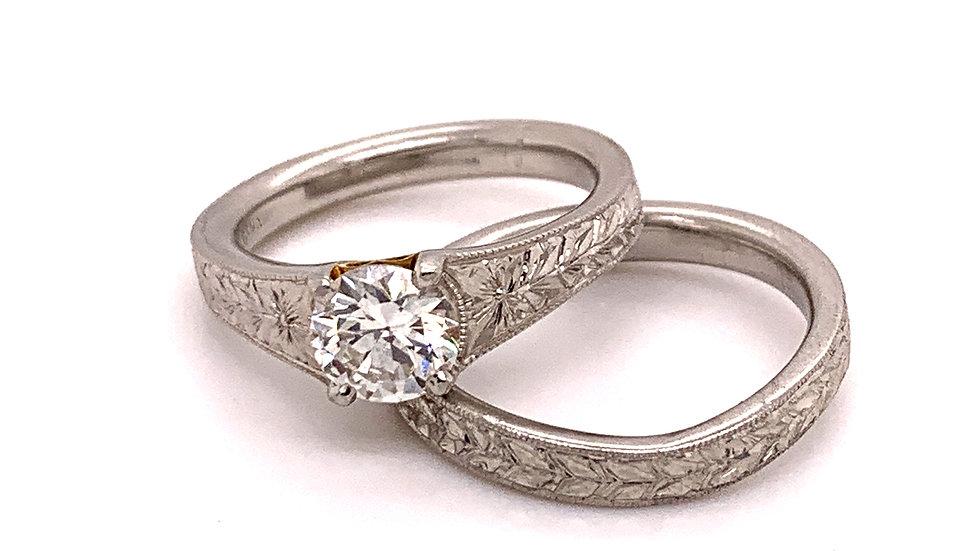 Platinum and Yellow Gold Diamond Engagement Ring Set