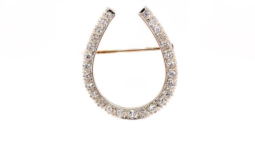 14K Horseshoe Diamond Pin