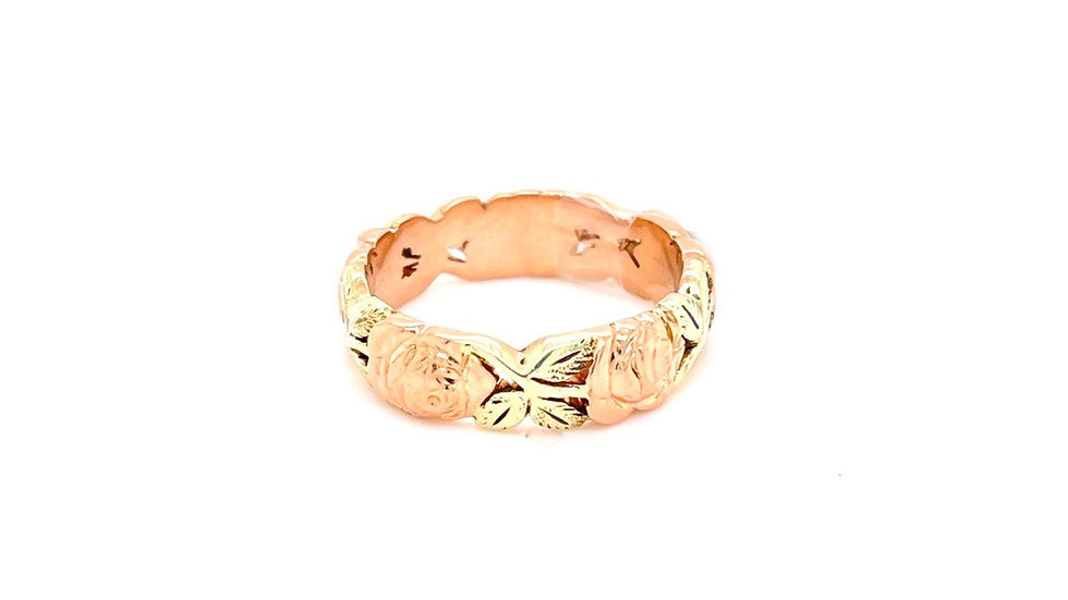 14K Yellow and Rose Gold Floral Band