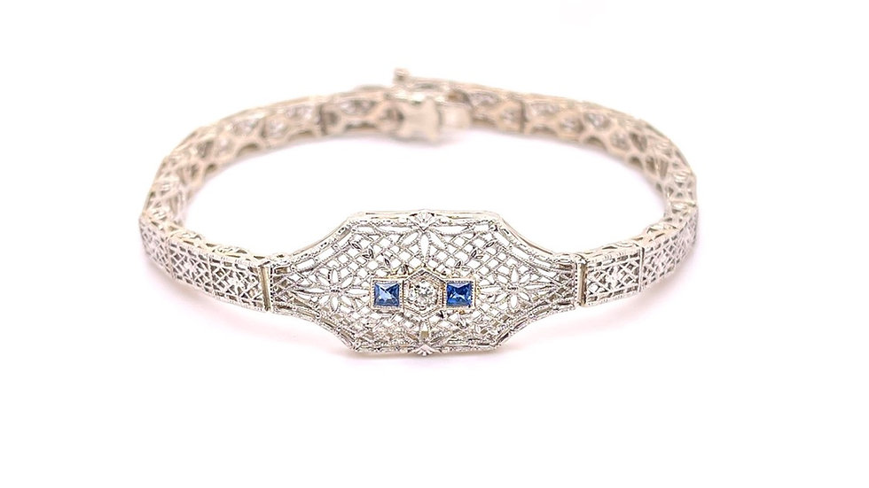 14K Sapphire and Diamond Filigree Bracelet