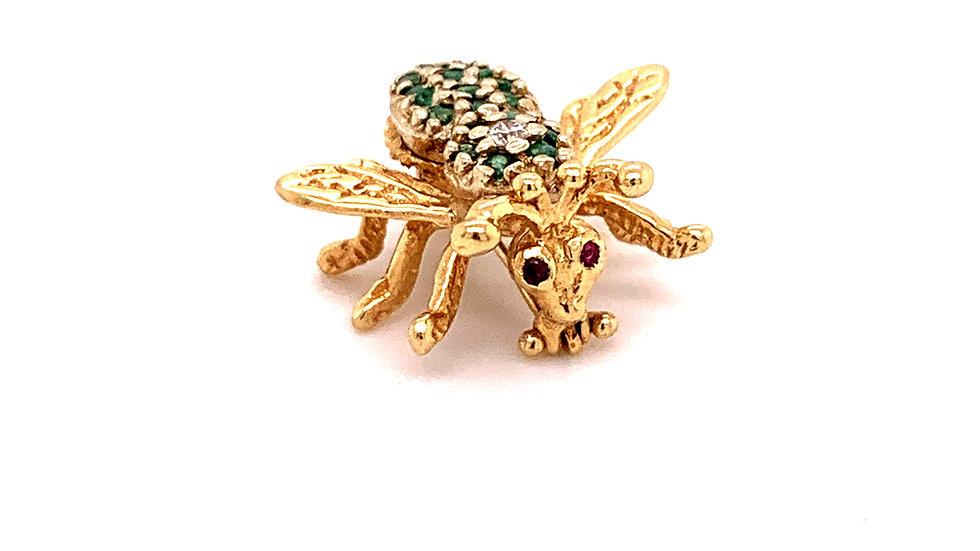 14K Yellow Gold Bee Pin