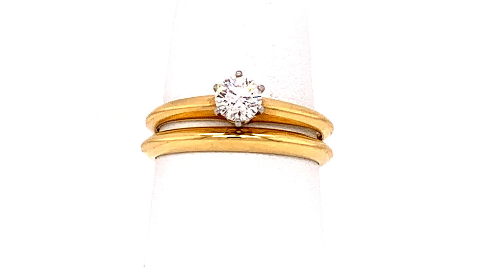 18k Yellow Gold and Platinum Tiffany and Co Diamond Engagement Ring/Wedding Band