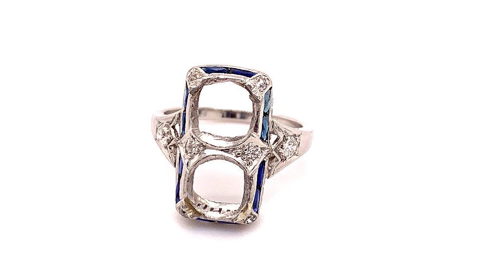 Platinum and Sapphire 2 Stone Mounting