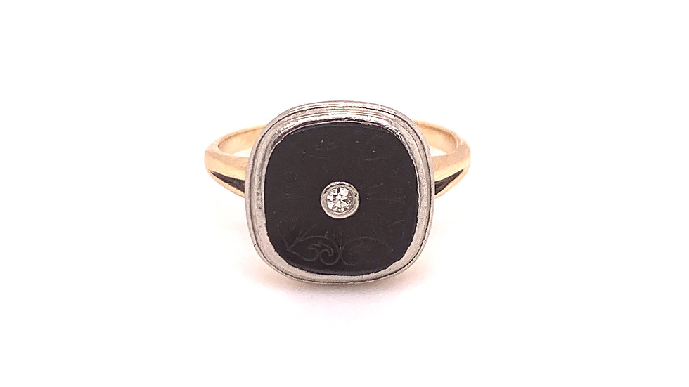 Vintage 10K White and Yellow Gold Onyx and Diamond Ring