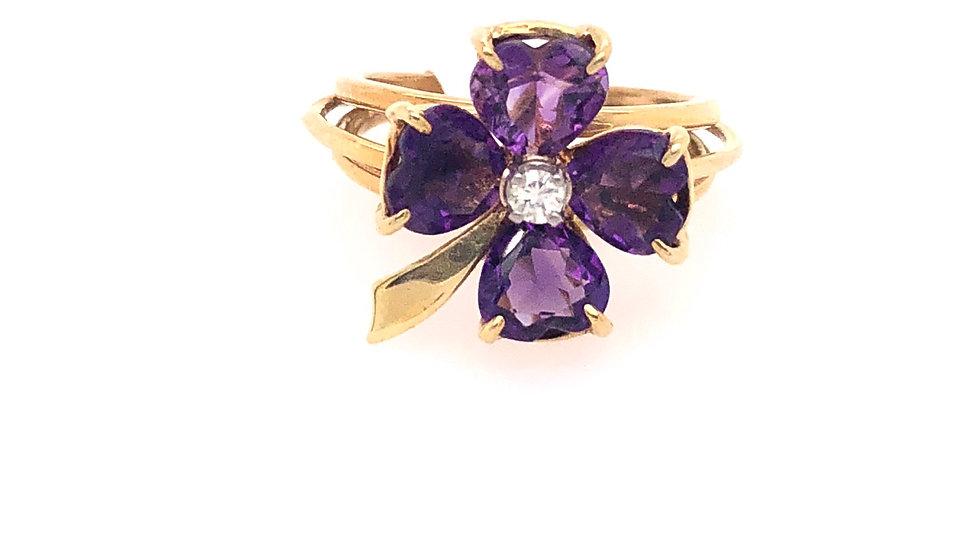 14K Flower Amethyst and Diamond Ring