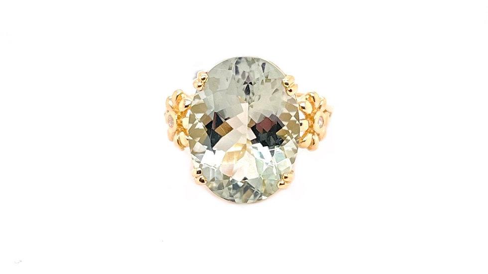14K Green Quartz and Diamond Ring