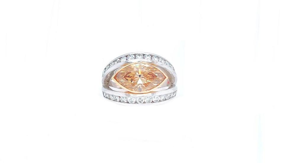 18K Chanpagne and White Diamond Ring