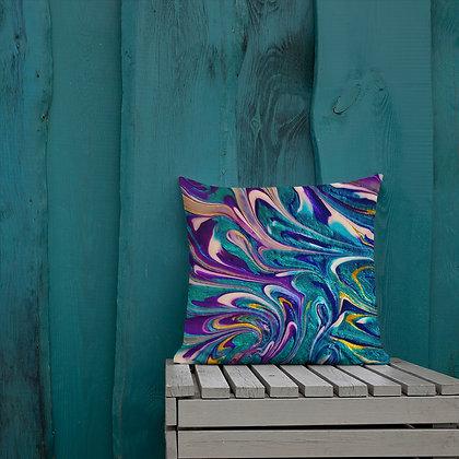 Stormy Peacock Heart Premium Pillow
