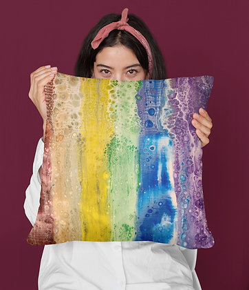 """""""Rainbow Falls"""" Faux Suede Square Pillow"""