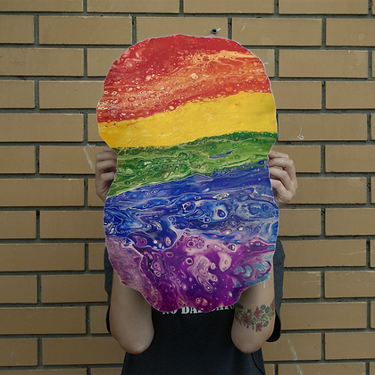 Rainbow Giant Face Cushion