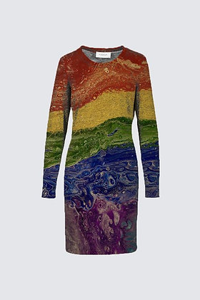 """Rainbow Striped"" Sophia Dress"