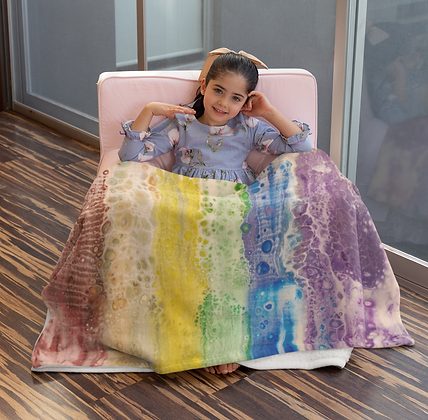 """""""Rainbow Falls"""" Velveteen Plush Blanket"""