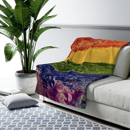 """""""Rainbow Striped"""" Sherpa Fleece Blanket"""