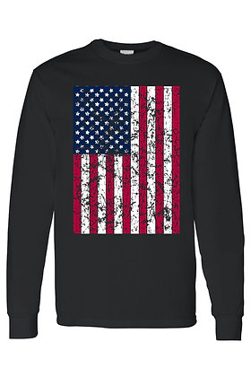 Men's/Unisex Freedom American Pride Distressed Flag Long Sleeve Shirt
