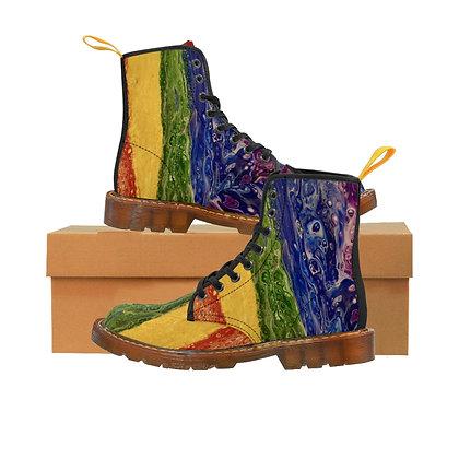 """Rainbow Striped"" Women's Canvas Boots"