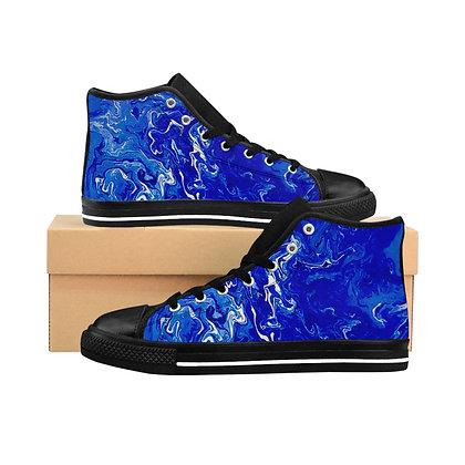 """Blue Swirl Bay"" Men's High-top Sneakers"