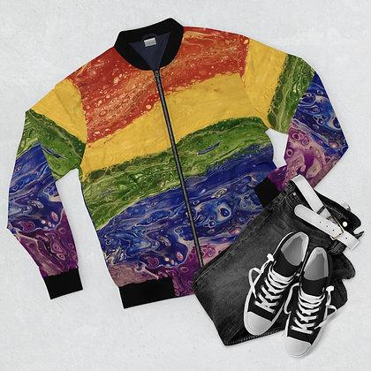 """Rainbow Striped"" Men's Bomber Jacket"