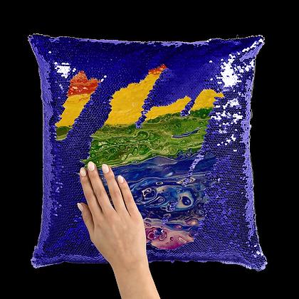 Rainbow Sequin Cushion Cover
