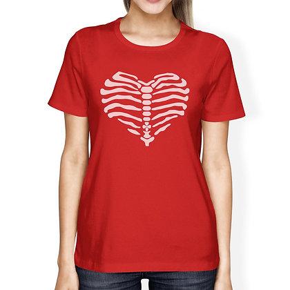 Skeleton Heart Womens Red Shirt