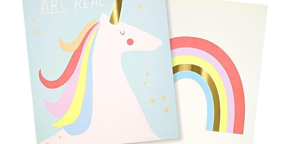 Lot de 2 affiches Licorne & Arc en ciel - Meri Meri - décoration chambre enfant