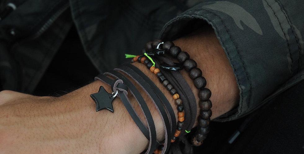 Bracelet Buffalo brun étoile noire Margote céramiste - vienne