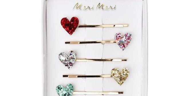 Barrettes cœur - accessoire petite fille - Meri Meri