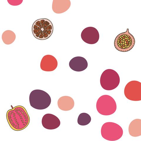 Bolinhas e frutinhas, o universo de estampas coloridas da Aninha Gonzalez Gastronomia. Identidade Visual, Absolut Design