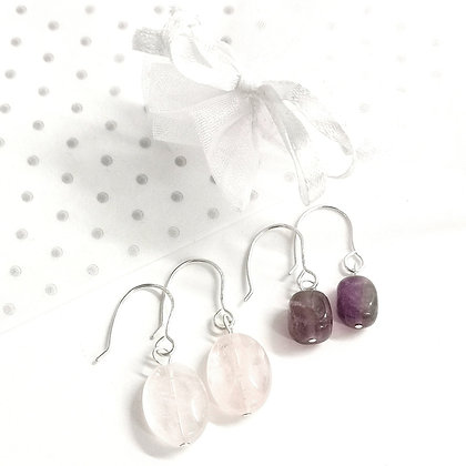 Amethyst or Rose Quartz hooks