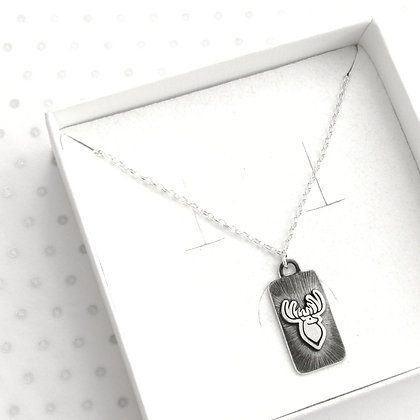 3d stag rectangle necklace