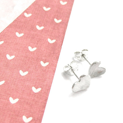 Domed small heart studs