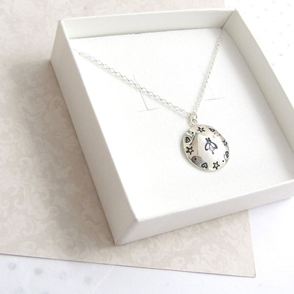 Bee mandala domed necklace