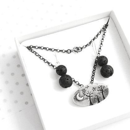 Winter tree brooch necklace gift set