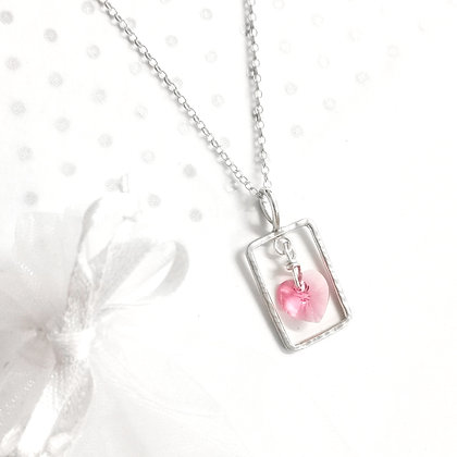 Pink heart swarovski necklace