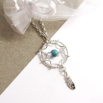 Turquoise bead dreamcatcher necklace