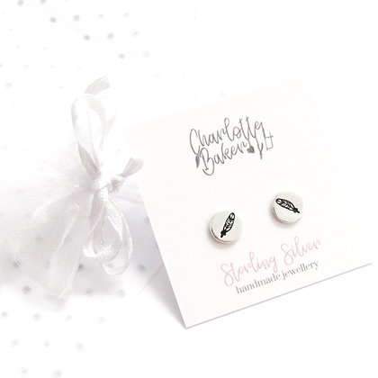 Feather circle studs