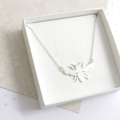 Silhouette outline bee necklace