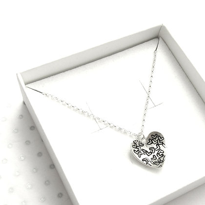 Stamped domed heart necklace