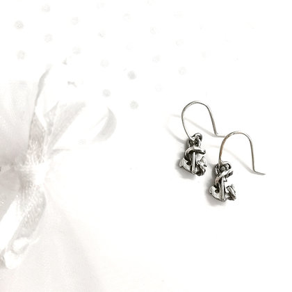 3d anchor hook earrings