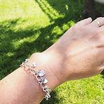 Domed heart charm bracelet