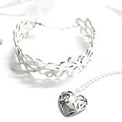Tear drop bangle and necklace