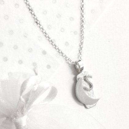 Celestial initial moon necklace
