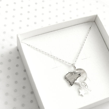 Celestial wolf necklace