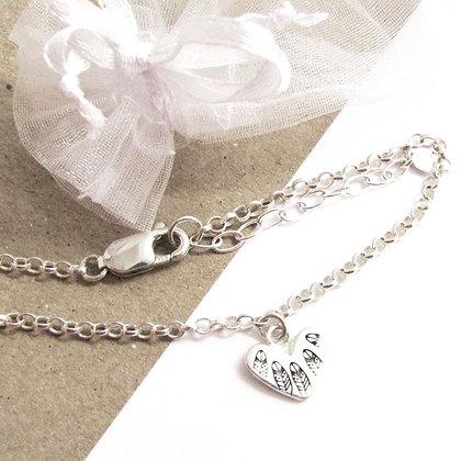 Feather heart bracelet