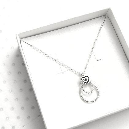 Tear drop heart necklace