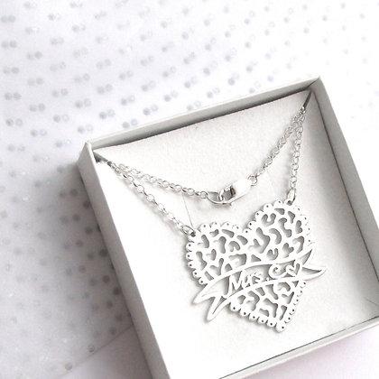 Custom leopard heart necklace