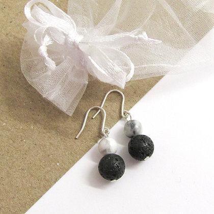 Howlite and lava earrings