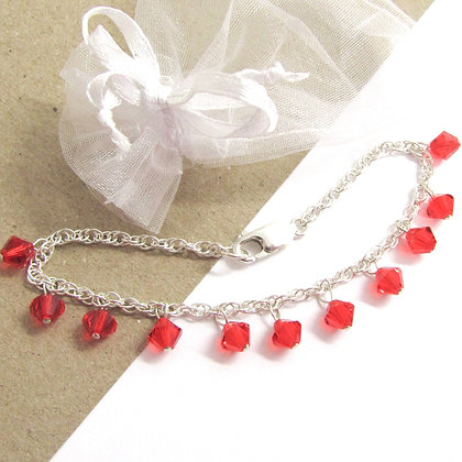 Red swarovski crystal bracelet