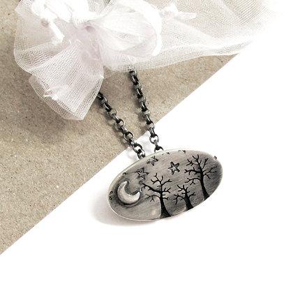 Winter tree necklace brooch