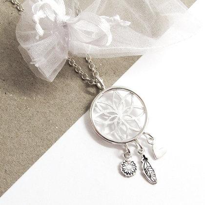 Flower dreamcatcher necklace