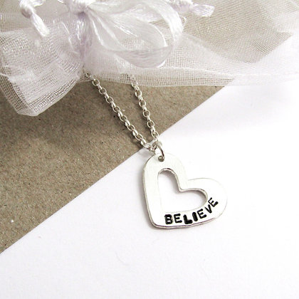 Believe heart necklace